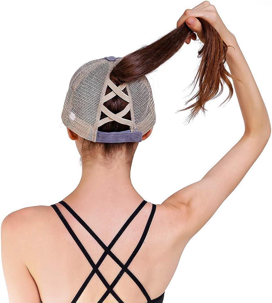 Henwarry Womens Washed Distressed Cotton Denim High Ponytail Criss Cross Hat Adjustable Baseball Cap