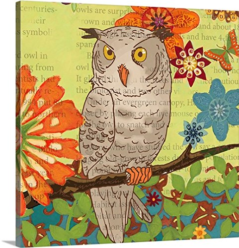 Margaret Ruele Premium Thick-Wrap Canvas Wall Art Print entitled Floral Owl Flight II 30