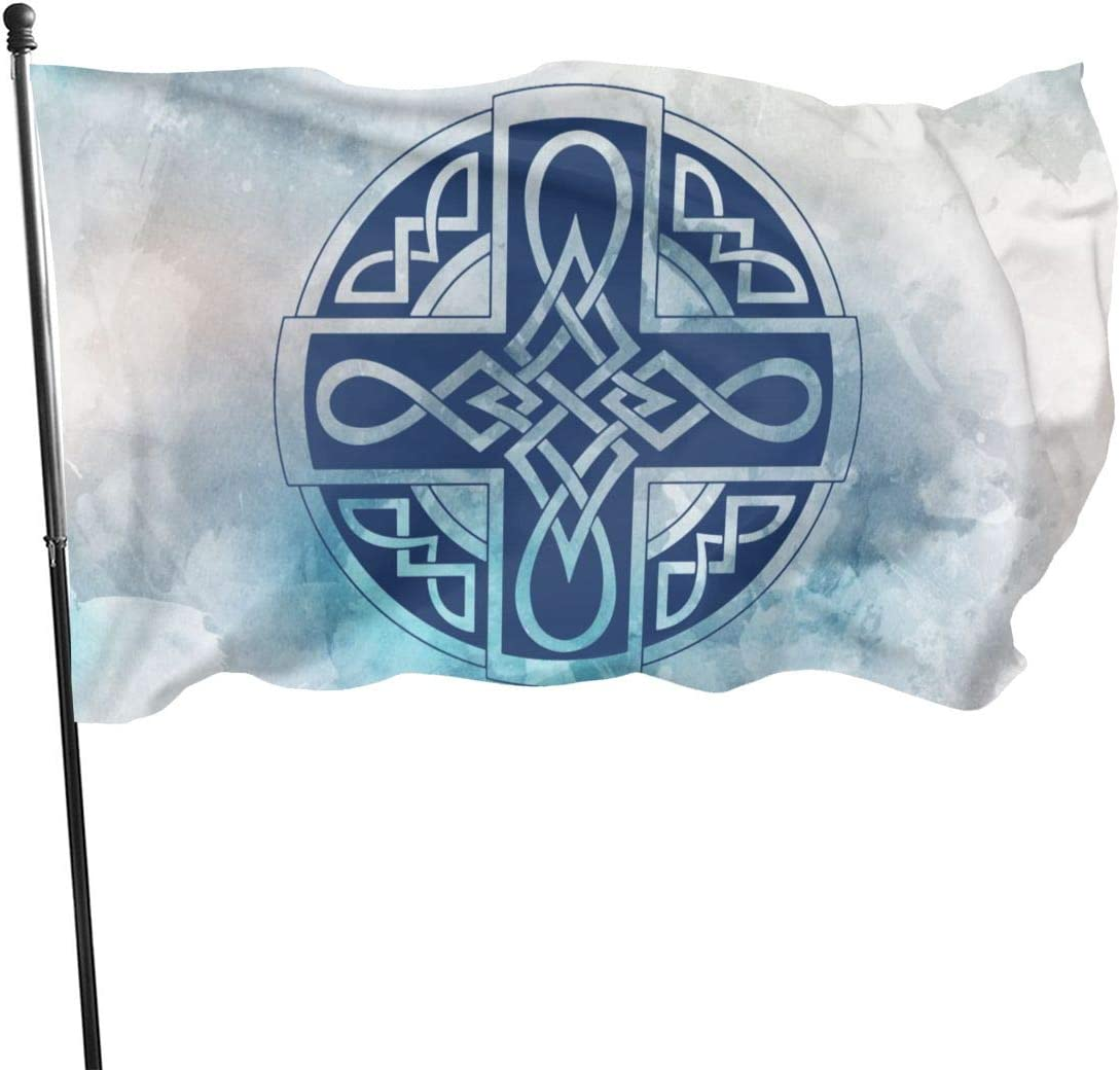 GAJAJAYZXN Celtic Blue Cross Garden Flag Patry Flag Outdoor Flag Garden Flag Outdoor Yard Flag Wall Lawn Banner Home Flag Decoration 3' X 5'