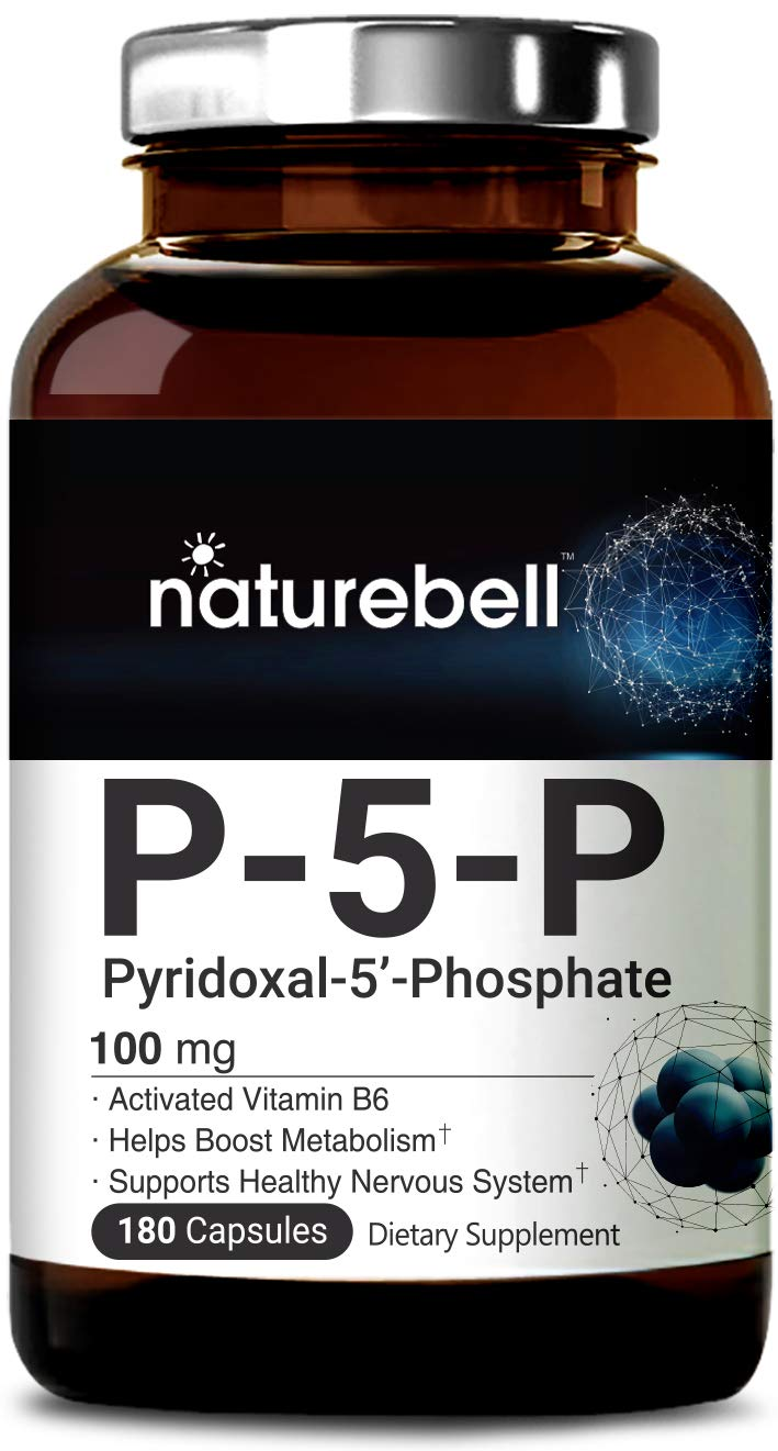 NatureBell P5P as Pyridoxal 5 Phosphate 100mg, 180 Capsules, Activated Vitamin B6, Powerfully Support Metabolism, Nervous System and Brain Health, No GMOs and Made in USA. by NATUREBELL