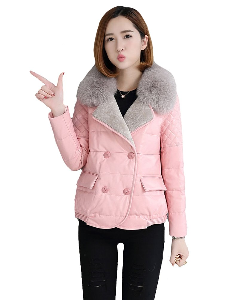 queenshiny Queeenshiny New Women's Sheep Leather Coat with Fox Fur Collar Pink XS(0-2) by Queenshiny