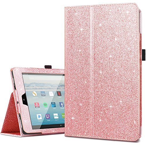 Amazon Fire HD 10 Case 2017,Kindle Fire HD10 2017 Cases,Fingic Luxury Sparkly Folio Folding Stand Cover with Holder & Auto Wake/Sleep Smart Case for Fire HD 10 inch Tablet Case,Rose - Glitter Tablet Case 8 Pink