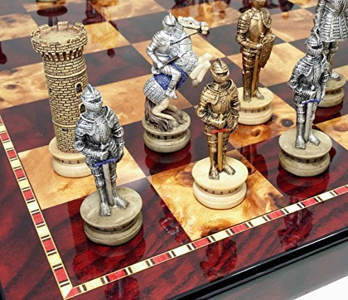 Gold Chess (Medieval Times Crusades Gold & Silver Armored Knights Chess Set W/ 18