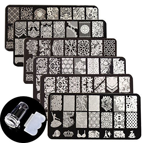 WOKOTO Nail Art Stamping Plate Stamper Scraper Set Lace Flower Image 6Pcs Nail Art Template With 1 Stamper 1 Scraper Manicure Plates kit