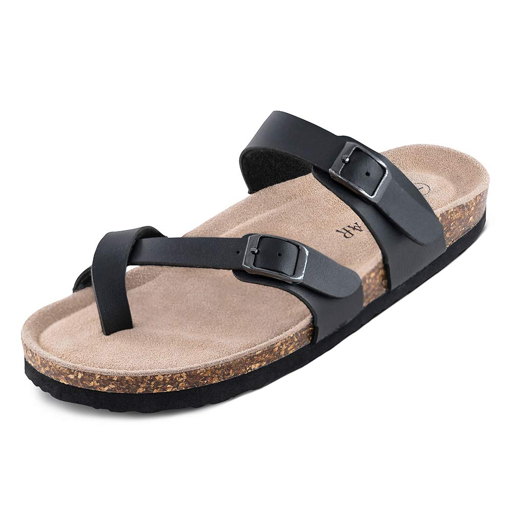 b4267d296e3011 Amazon.com | TF STAR Adjustable Mayari Flat Leather Casual Sandals for Women  & Ladies, Youth Suede Slide Cork Footbed for Teenagers/Girls | Slides