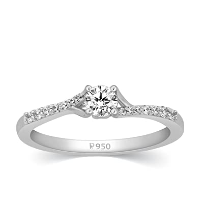 f665b235f Buy Kama Jewellery 950 Platinum and Diamond Erin Ring Online at Low Prices in  India | Amazon Jewellery Store - Amazon.in