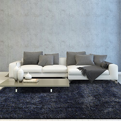 iCustomRug Smoky Shag Modern Thick And Soft 3ft0in x 5ft0in (3′ x 5′) Interior Shag Area Rug In Black & Blue For Sale