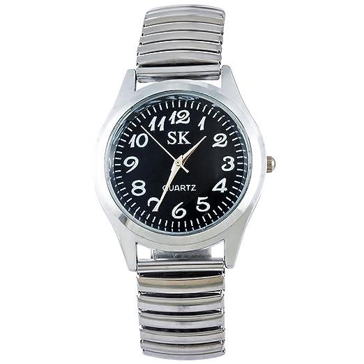 MJARTORIA Mujer Reloj de cuarzo pulsera elástica color plata