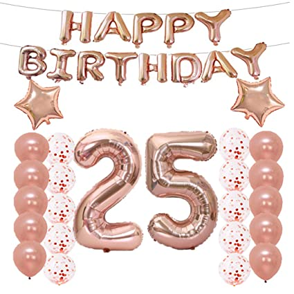 LQQDD 25th Birthday Decorations Party Supplies25th Balloons Rose GoldNumber 25 Mylar