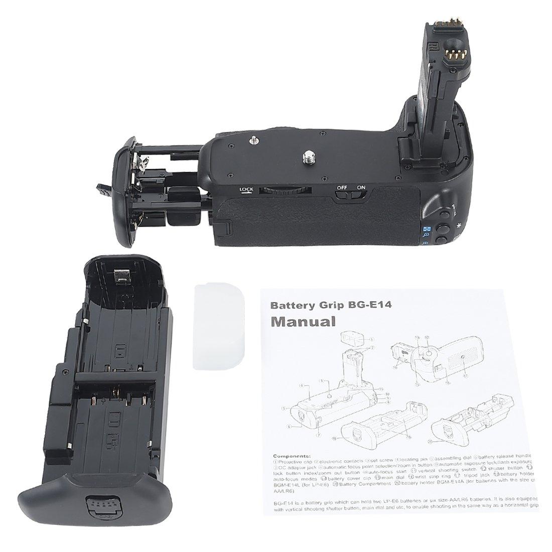 DSTE Pro BG-E14 Vertical Battery Grip + 2x LP-E6 LP-E6N for Canon EOS 70D 80D SLR Digital Camera