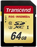 Transcend 64 GB High Speed 10 UHS-3 Flash Memory Card 95/60 MB/s (TS64GSDU3),Gold