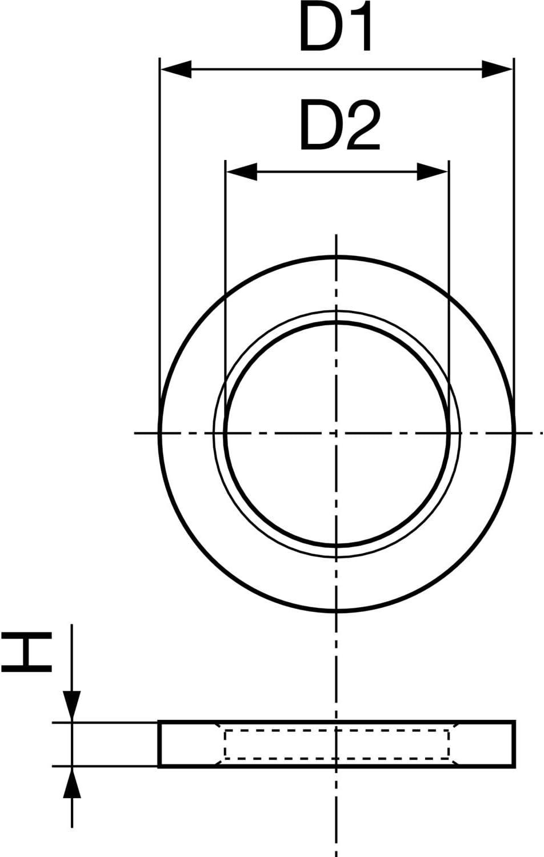 50 Stk Messing blank H/öhe 1,8 mm Zwischenring f/ür T/ürb/änder /ø 13,0//8,1 mm