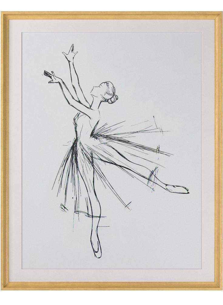 Rivet Modern Sketch of Dancer with Clean White Background, 39.42''H x 31.42''W x 2.27''D including Simple Maple Frame by Rivet (Image #4)
