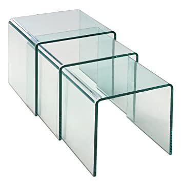 nesting end tables living room. Tangkula 3 pcs End Table Set Stacking Nesting coffee tables Tempered Glass  Home Living Room Furniture Amazon com