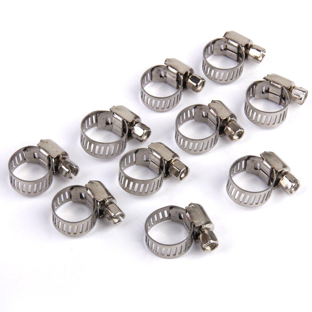 MagiDeal Lot de 10pcs 8-12mm Clip à Ressort Collier de Serrage Réglable pour Tuyau de Carburant Essence STK0114011723