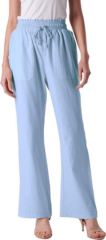 Anggrek Pantalones De Lino Mujer Elastico Yoga Con Bolsillo Cordon Tallas Grandes Amazon Es Ropa Y Accesorios