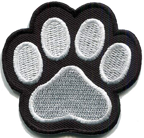 Cat paw Print Animal Wildlife Black White DIY Embroidered Applique Iron-on Patch S-1616