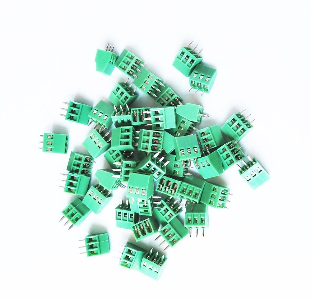E-Simpo 50pcs 2.54mm Terminal Block 0.1'' Pitch PCB Screw Wire Terminal 2P 3P (150v6a) 3.81mm(300v10a) (2.54mm Pitch, 3P) Read the Drawing Before You Order. Strict Size as Drawing.
