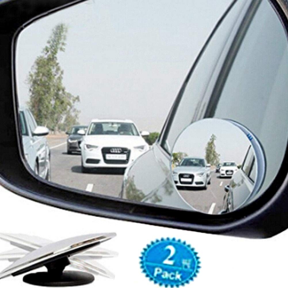 Cideros 2pcs Blind Spot Mirror 360° Adjustable Convex Rear View Stick-On Mirror