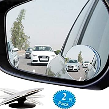 2pcs Blind Spot Mirror Rimless Glass Wide Angle 360° Convex Mirror Rear View G