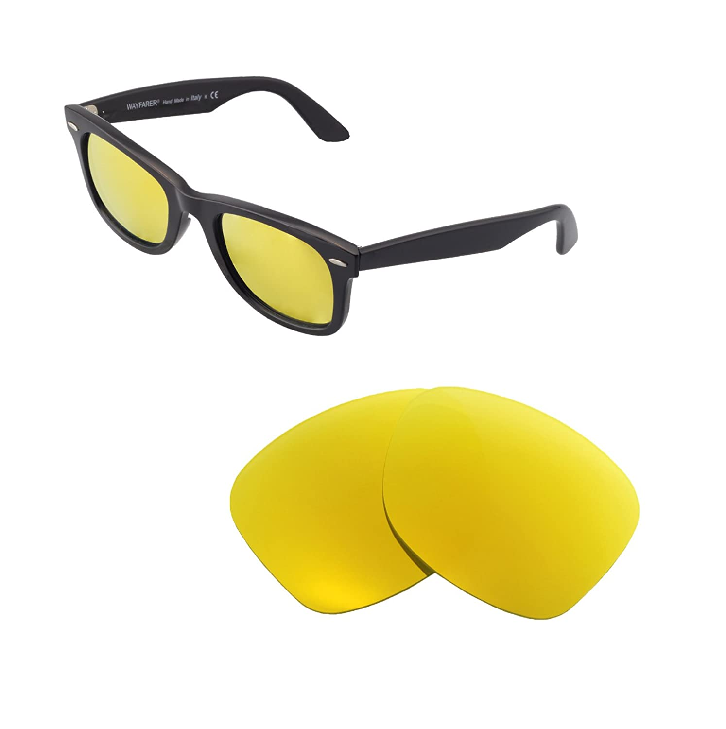 3cb7a415313 Amazon.com  Walleva Replacement Lenses for Ray-Ban Wayfarer RB2140 50mm- 5  Options (24K Gold - Polarized)  Clothing