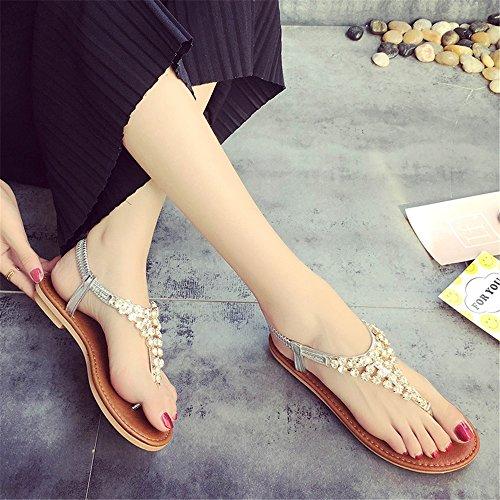Stylish plat plage au Argent Chaussures Ladies Confort Chaussures TMKOO à de ouvertes sol plates dxqpI0w
