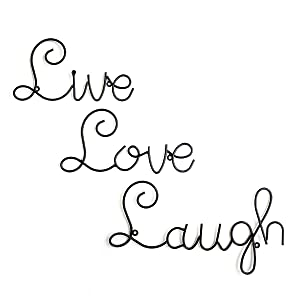 Live Love Laugh Set 3 Wall Mount Metal Wall Word Sculpture, Wall Decor by ARAD