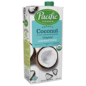Pacific Foods Organic Coconut Unsweetened Original Plant-Based Beverage, 32oz, 12-pack Keto Friendly