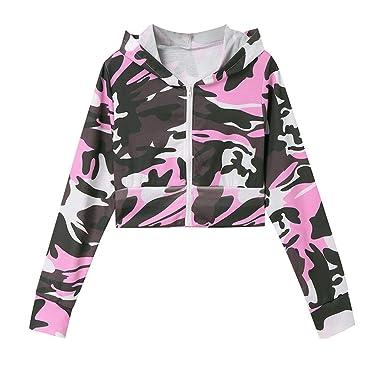 Xmiral Damen Mantel Mode Camouflage Print Shirt Langarm