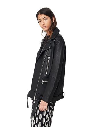 6fdfc57f63 MANGO - Oversize Leather Jackets Leather Biker - Size M - Color Black   Amazon.co.uk  Clothing