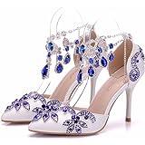 LEIT Chaussures Femmes de 9cm a souligné Chaussures de Mariage Strass Cristal Fine avec des Chaussures Fines,36,Blue
