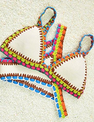 MODETREND Mujer Bikinis Dos Piezas de Croché Push Up Traje de Bañador de Neopreno Coloridos Beachwear Swimsuit Swimwear Blanco