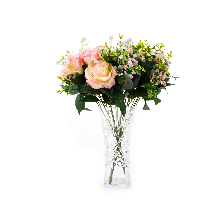 miguor 6ヘッドSpring Snow Mountainローズシルク布人工花、人工装飾ブライダルブーケ、1のパック ピンク B07FGFC64Y ピンク