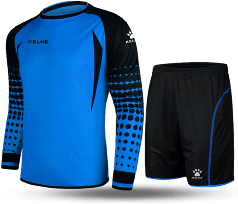 Conjunto para portero de fútbol, de la marca Kelme, de manga larga, color azul y negro, tamaño Small: Amazon.es: Deportes y aire libre
