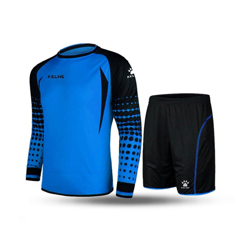 サッカーゴールキーパー長袖スーツサッカージャージーセット B01E87FXJIブルー/ブラック Medium