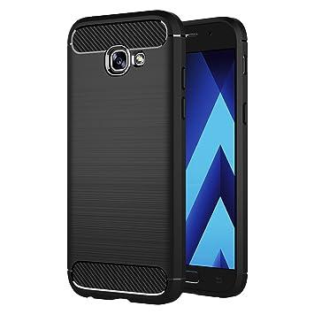 AICEK Funda Samsung Galaxy A3 2017, Samsung A3 2017 A320F/A320FL Funda Negro Gel de Silicona Galaxy A3 2017 Carcasa Fibra de Carbono Funda para ...