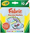 Crayola Fine Line Fabric Markers, 10 Count ,3-sets