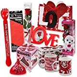 "Valentine Gift Set; Complete with Gift Bag, Tissue Paper, Red Rose, ""I Love You"" Mini Bear, 2 Valentine Mugs & 1 Large of Hershey Red Kiss! Assembly Required."