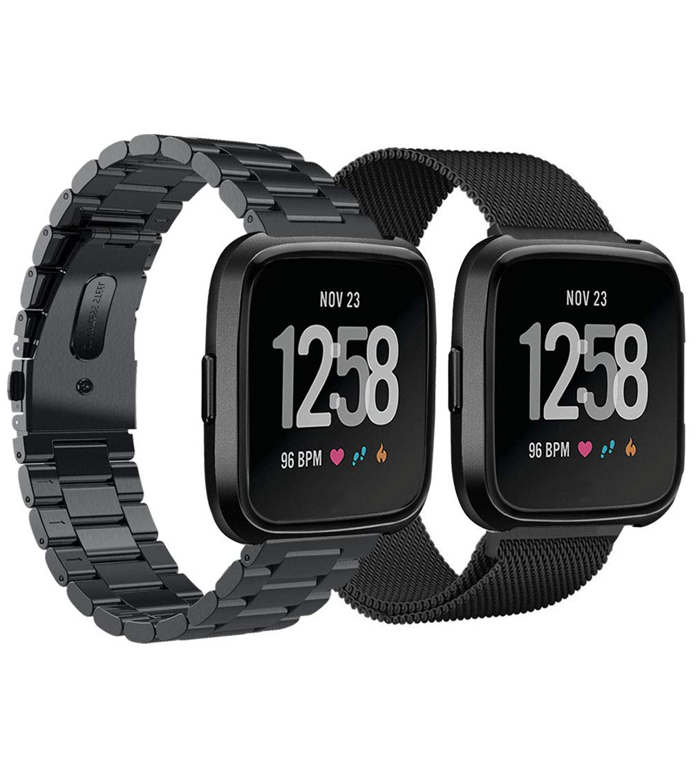 VIGOSS Metal Strap Compatible with Fitbit Versa Bands Black Men 2 Pack Solid Stainless Steel Versa Band + Milanese Loop Mesh Replacement Bracelet Wristband for Fitbit Versa Smartwatch