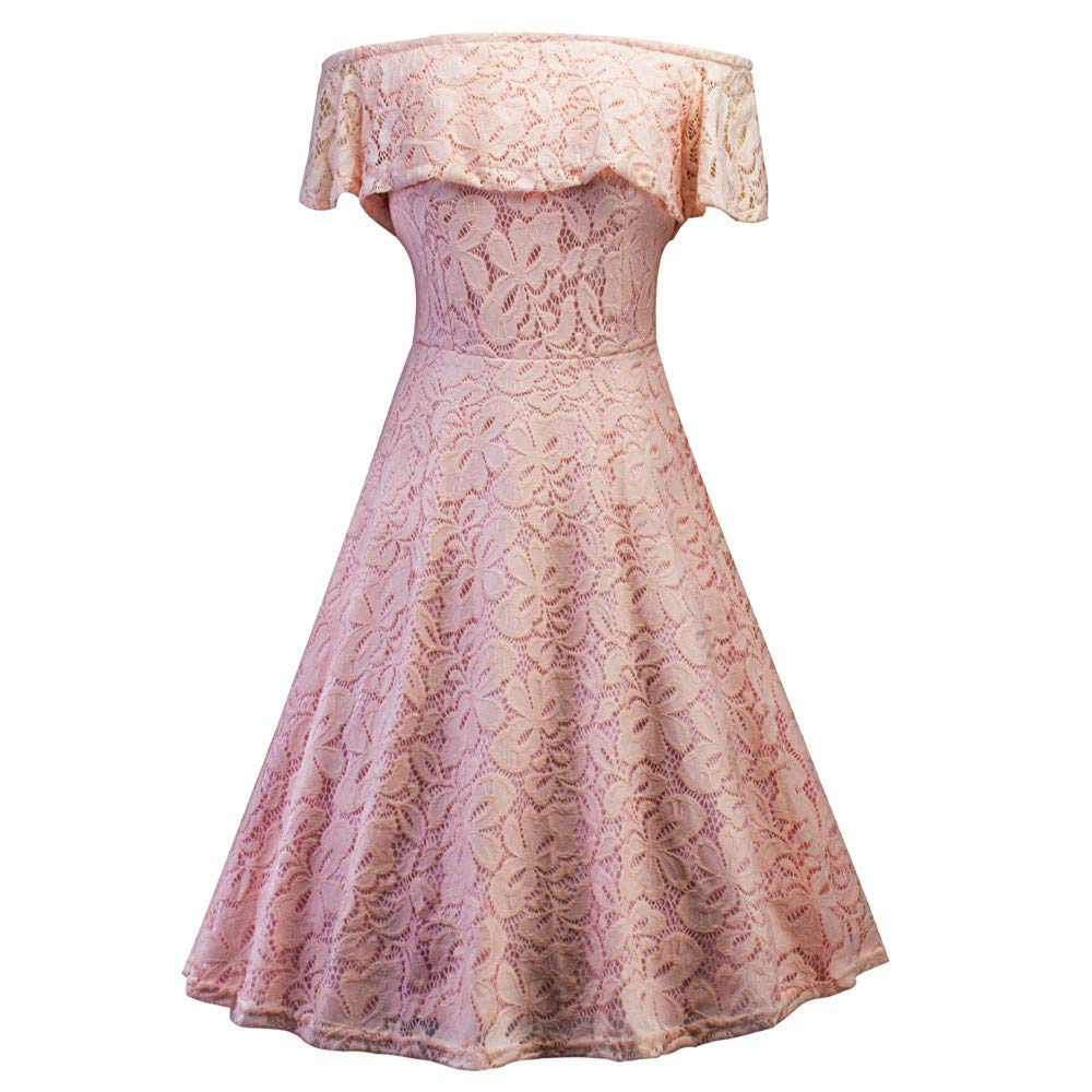 Libermall Women's Dresses Floral Lace Off Shoulder Evening Party Cocktail A-Line Dress Beach Sundress Pink