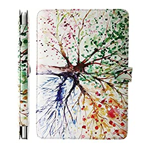 KEC MacBook Air 13 Inch Case PU Leather Cover with Stand Protective A1369 / A1466 (Four Season Tree)