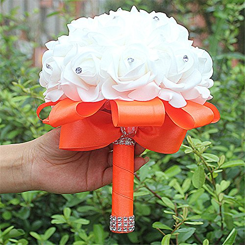 Manga Dua Crystal Pearl Silk Roses Bridal Bridesmaid Wedding Bouquet Wedding Flowers Orange Pack of - Bridal Bouquet Orange