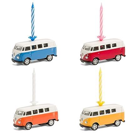 corpus delicti :: Vela sobre Ruedas - el Regalo de cumpleaños para Todos los fanáticos de Bulli - VW Bus T1 Bulli de Metal (Set de 4 Mixtos Azul, ...