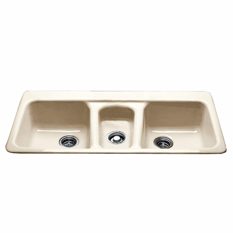 CECO Sinks-Bolsa Chica 797-4-22 Self Rimming Kitchen Sink 43'' X 22'' Cast Iron Triple Basin Sink