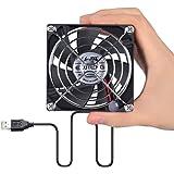 ELUTENG Ventola 80mm Esterno con Griglia USB 5V PC Ventola Raffreddamento Portatile 7 lame USB ventole per raffreddamento 8 cm per Desktop/PS4/PS3/Xbox One/TV Box/Router/DIY