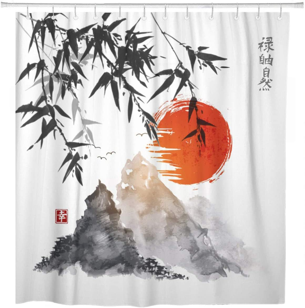 ArtSocket Shower Curtain Bamboo Trees Red Sun and Mountains Traditional Japanese Ink Home Bathroom Decor Polyester Fabric Waterproof 72 x 72 Inches Set with Hooks
