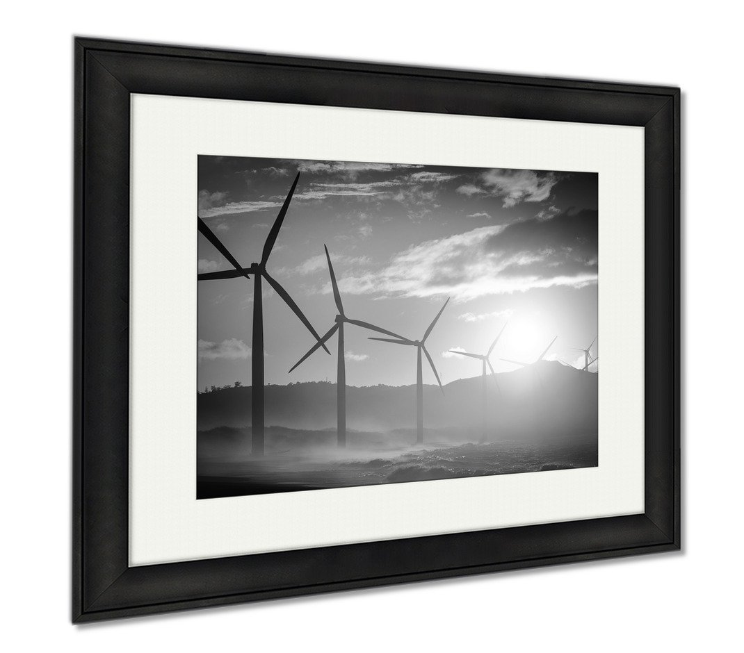 Ashley Framed Prints Wind Turbine Power Generators Silhouettes At Ocean Coastline At Sunset, Wall Art Home Decoration, Black/White, 26x30 (frame size), Black Frame, AG5858548
