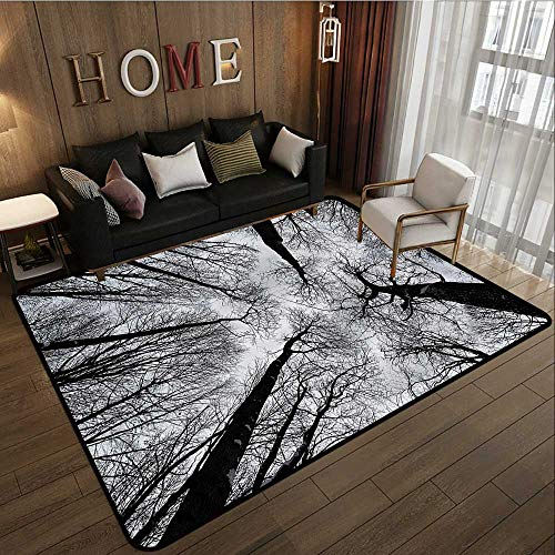 Large Area Rug Forest Dark Winter Forest Tree Rustic Home Decor 5'10