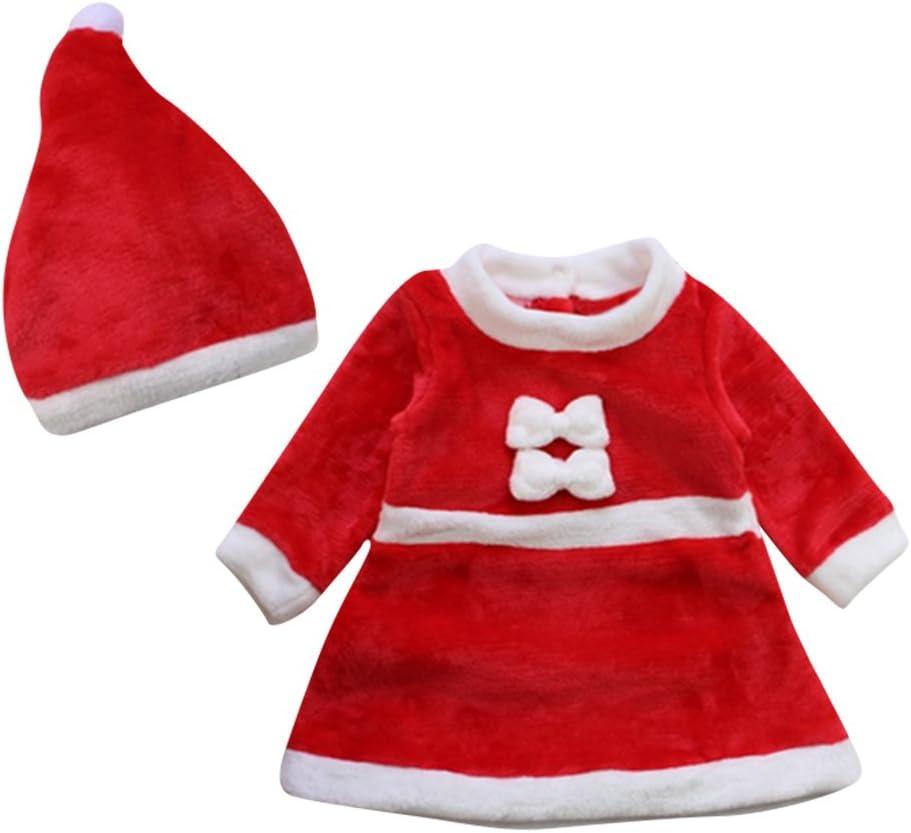 Le SSara 2pcs Dress Cosplay inverno del bambino di natale Neonato Costume Hat Outfit 0-6 Mesi
