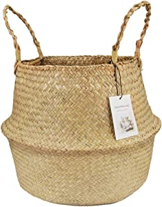 Jiecikou Seagrass Belly Basket with Handles, Large Storage Laundry Bag Natural Woven Seagrass Tote for Picnic and Grocery Basket Rustic Home Decor Primary Color S